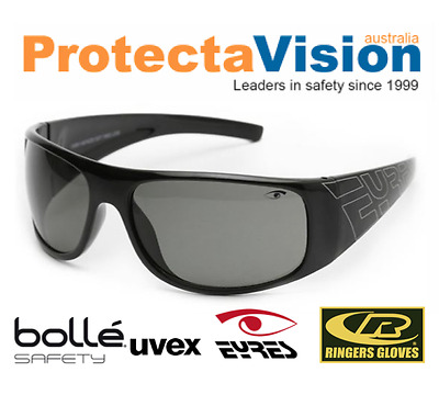 Eyres XCCESS Shiny Black Smoke Safety Glasses Sunglasses