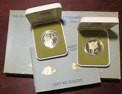 1990 75TH ANZAC ANNIVERSARY-AUSTRALIAN+NEW ZEALAND-2x$5 COINS PROOF SET WITH BOX