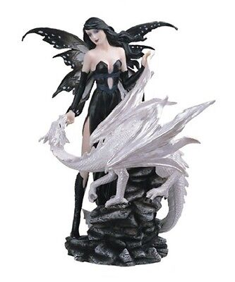 "10"" Inch Gothic Black Fairy with White Dragon Statue Figurine Figure Fairies"
