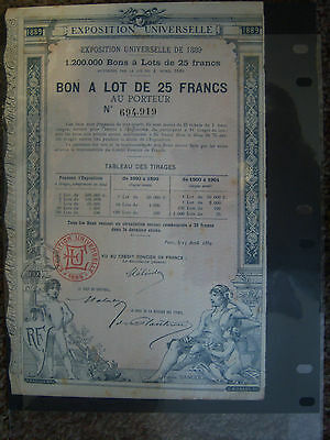 Lot of Vintage Original French European Bonds, 1889 EXPO, Hotel Plaza, Petroles