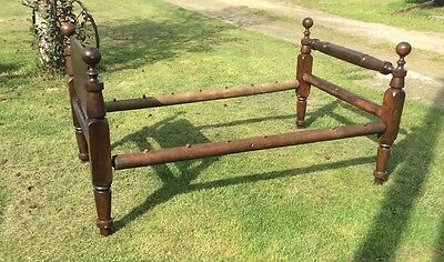 Antique Wood Rope Bed Four Ball Post 78x51x41