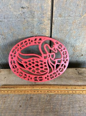 Vintage Metal Red Goose / Swan Trivet Hot Plate Wall Decor With Bracket