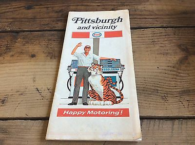 """Vintage Pittsburgh Esso  Gas Service Station Road Map """"Put A Tiger In Your Tank"""""""