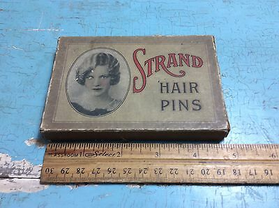 Antique Vintage Strand Hair Pins Box Advertising Collectible