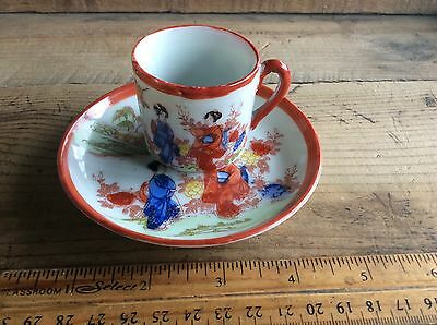 Antique Porcelain Nippon Japan Hand Painted Cup & Saucer Red  Geisha Girls