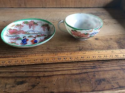 Antique Porcelain Nippon Japan Hand Painted Cup & Saucer Green  Geisha Girls