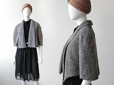 Vintage 1940's Black and White Wool Tweed Capelet Jacket Wrap