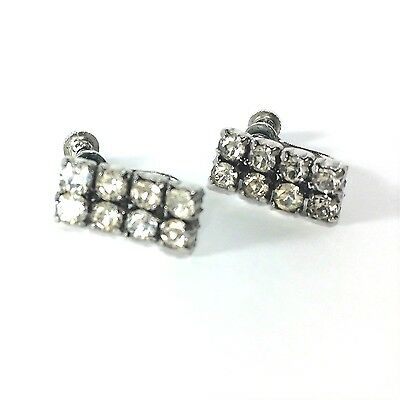 Rhinestone Vintage Holiday Earrings Dangling Party Silver Tone Screw Back Subtle