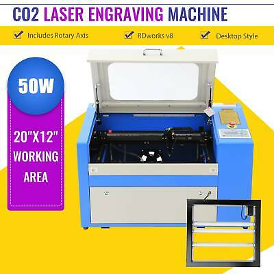 50W Laser Engraving Machine CO2 Engraver Cutter W. Auxiliary Rotary Device 20*12