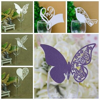 50PCS Place Name Cards White Laser Cut Glass Wedding Party Table Decorations