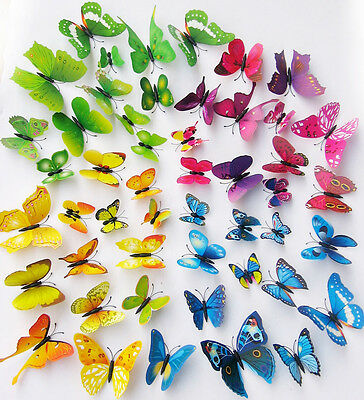 12Pcs 3D Butterflies Wall Decals Removable Stickers with Magnetic Butterfly
