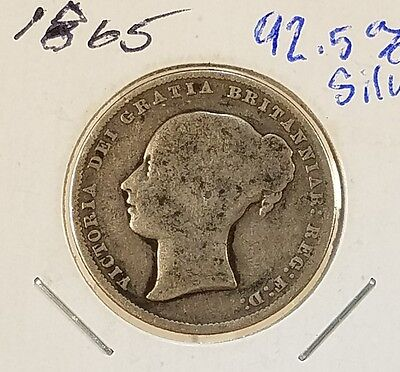 1865 Queen Victoria One Shilling *VINTAGE*  92.5% SILVER COIN!!