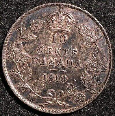 High Grade 1910 Canada 10 Cents Silver Coin