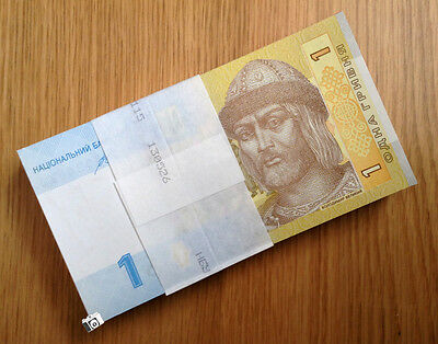A Bundle of 100 PCS, Ukraine 1 Hryvnia, Banknotes, 2006-2014, P-116A,  UNC