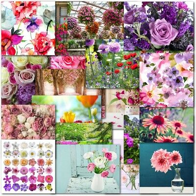 Pack of 20 Mixed Floral Blank Premium Cards Notelets Female Ladies Flowers