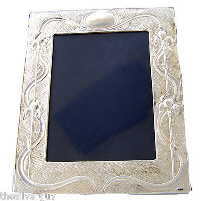"VERY LARGE ART NOUVEAU HALLMARKED SILVER PICTURE FRAME.  8"" x 6"" sight area"