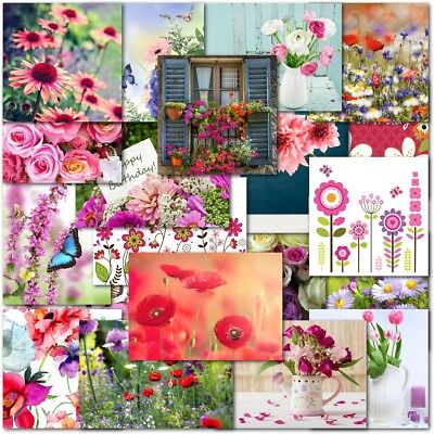 Pack of 20 Mixed Female Floral Flower Birthday Premium Greeting Cards Ladies