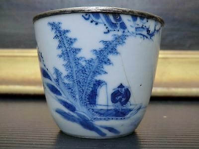 chinese Vietnam blue white cup four characters mark calligraphies bleu de Hué