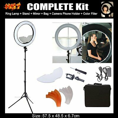 "Diva Dimmable LED Ring Light Lamp 19"" / 48cm 55W Mirror and Stand Make Up Studio"