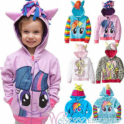 Girls Kids Toddler Hoodie My Little Pony Wing Sweatshirt Coat Jacket Outerwear