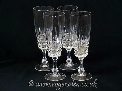 Crystal Glass  A Set of 4 Champagne Flute Glasses