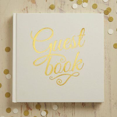 Ivory & Gold Foiled Wedding / Christening Guest Book 32 Page Keepsake