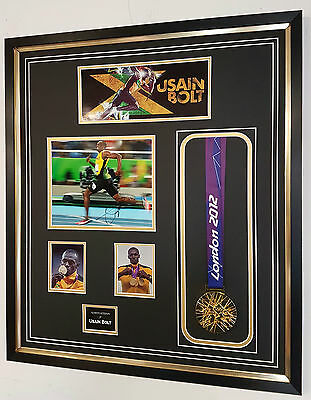 ** NEW Usain Bolt Signed PHOTO PICTURE AUTOGRAPH Medal Display **