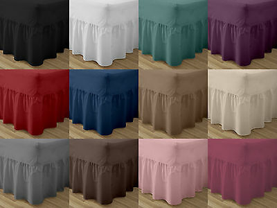 Plain Dyed Fitted Valance PolyCotton  Bed Sheet Single Double King & S.King Size