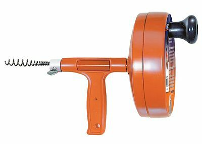Toilet Drain Auger Plumbers Drain Snake Pipe Cleaner Spin Thru  1/4-Inch 25 Feet