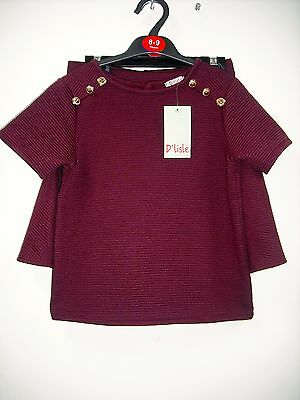 BNWT - 2 Piece Set, Maroon Top/Skirt. Girls. Age 8-13 Years