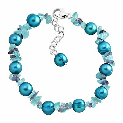 Honora Teal Freshwater Pearl Bracelet with Iolite & Apatite in Sterling Silver