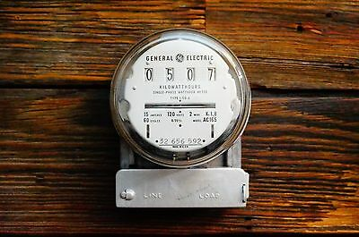 Working Vintage GE General Electric Watt Hour Meter Glass Dome 15A SteamPunk