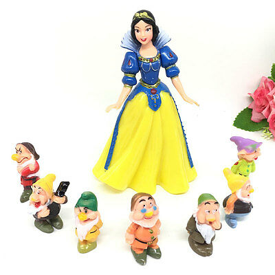 Snow White and the Seven Dwarfs Figure Collection Set Garage Kit Kids Toy Gift