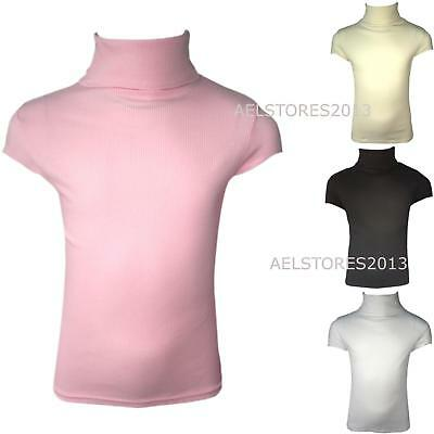 Kids Ribbed Polo Neck Top Girls Boys Short sleeve Turtle Jumper Tops New 2-13 Y