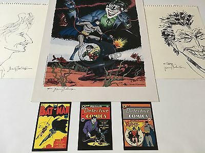 CREATOR OF THE JOKER & DC Comic Artist Jerry Robinson Signed Sketch & Print Lot!