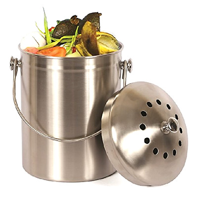 Compost Bin Stainless Steel Pail 1 Gallon 2 Free Odor Absorbing Filters