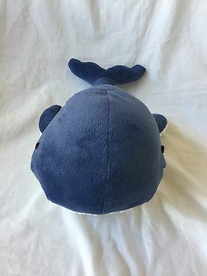 "NAUTICA KIDS Plush Blue WHALE Navy Velour White Pillow Bedding Stuffed 12"" EUC"