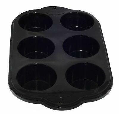 6 Cup Large Silicone Bun/Muffin Non Stick Tin Tray Baking Pudding Black Mould