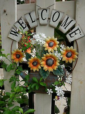 Metal Welcome Sign with Sunflower and Growing form a Watering Can Wall Art Decor