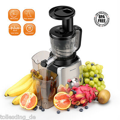 Double Edged Masticating Slow Juicer Press Fruit Vegetable Juice Extractor Home