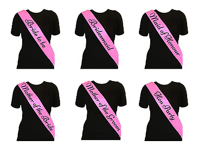 Pink Black Text Hen Night Party Sashes Bride To Be Bridesmaid Mother Sash