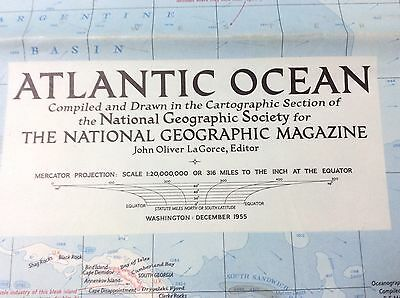 Vintage National Geographic 1955 Map of Atlantic Ocean with Descriptive Notes