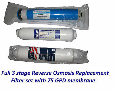 3 Stage Reverse Osmosis RO Complete Filters Replacement set 75GPD Membrane