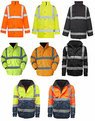 Mens Ladies Hi Viz Vis Visibility  Waterproof Padded Hooded Work Jackets Size