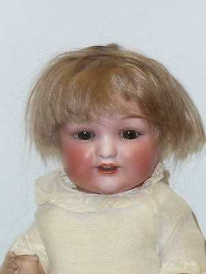 """13"""" Japanese Bisque Baby w/Brown Sleep Eyes, Antique Clothing, Sold As Found"""