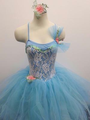 Dance Costume Small Adult Blue Floral Tutu Dress Ballet Pointe Solo Competition