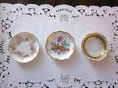 Antique 3 Porcelain Butter Pats Limoges Dresden