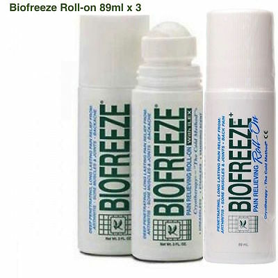 BIOFREEZE Roll-On 3oz/89ml x3 (TRIPLE PACK)+12 travel sachets free,PAIN RELIEF