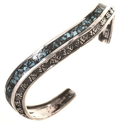 Navajo Indian Inlaid Turquoise Sterling Silver Wave Cuff Bracelet