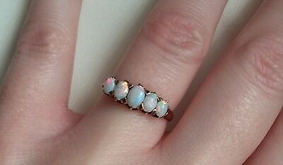 Antique 5 Stone Opal and 14k Yellow Gold Ring Vintage Victorian Smaller Size 4.5